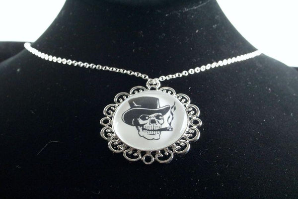 Custom Skull Flower Pendant Silver Finish