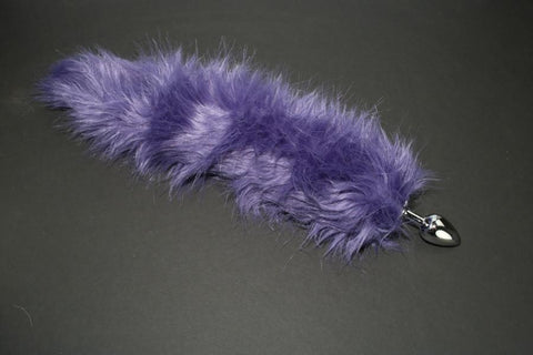 Purple Faux Fur Fox Tail or Kitty Tail Butt Plug
