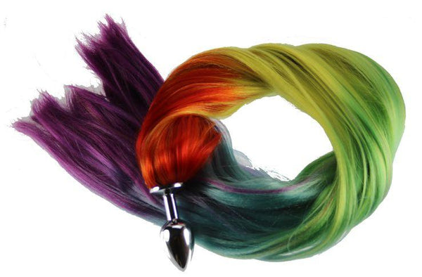 "24"" Rainbow Pony Tail Butt Plug Synthetic Tail (14)"