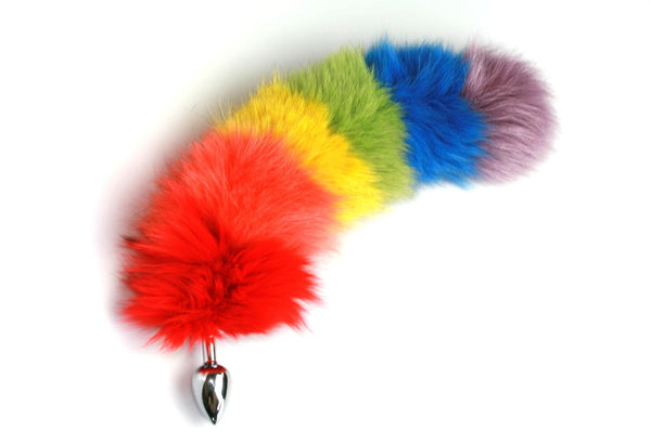 Rainbow Fox Tail Butt Plug Real Fur