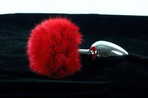 Soft and Sexy Real Fur RED Bunny Tail Butt Plug