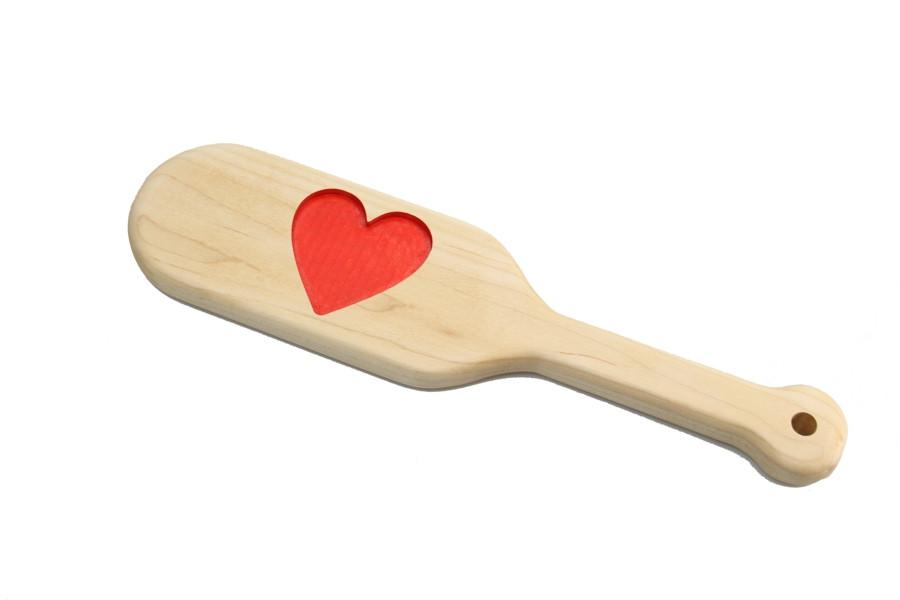 Heart Engraved BDSM Discipline Paddle