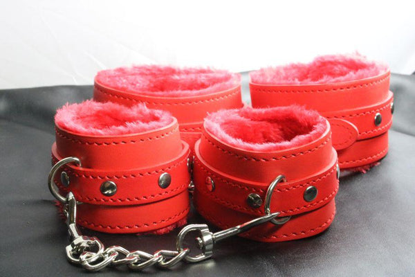 Red Vegan Friendly Lined Wrist and Ankle Restraints (Style 2)