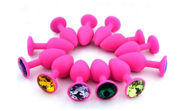 Small Pink Silicone Jewel Butt Plug