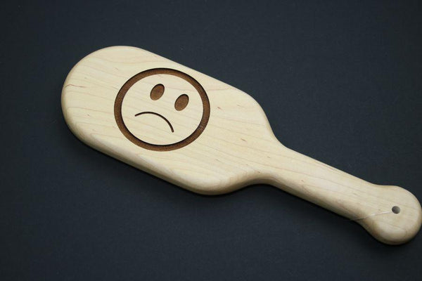 Sad Emoji BDSM Engraved Spanking Paddle