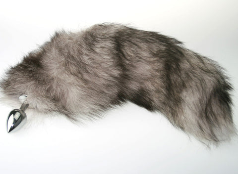 Silver Fox Tail Butt Plug Real Fur