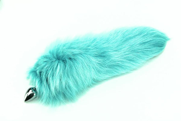 Sleek Sky Blue Fox Tail Butt Plug Real Fur