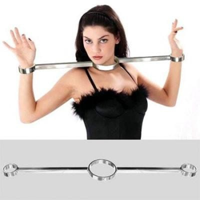 Heavy Steel Cuff Neck to Wrist Spreader Restraints
