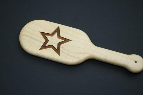 Laser Engraved Star BDSM Large Hairbrush Paddle