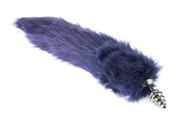Synthetic Purple Faux Fur Kitty Tail Fox Tail Metal Butt Plug (MT)