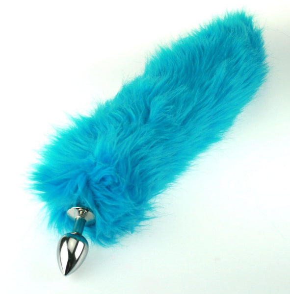 Turquoise Faux Fur Fox Tail or Kitty Tail Butt Plug