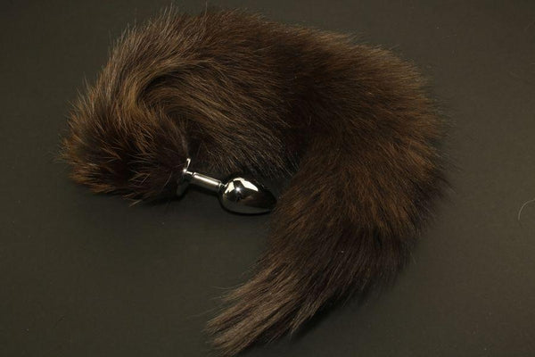Pre-made Ready to Ship Real Fur Fox Tail with Small Metal Butt Plug (103)
