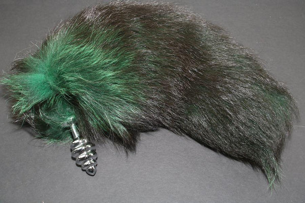 Pre-made Ready to Ship Real Fur Fox Tail with Small Ribbed Metal Butt Plug (43)