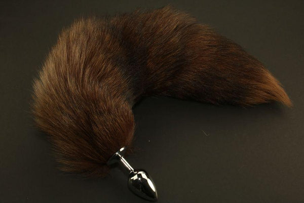 Pre-made Ready to Ship Real Fur Fox Tail with Small Metal Butt Plug (44)