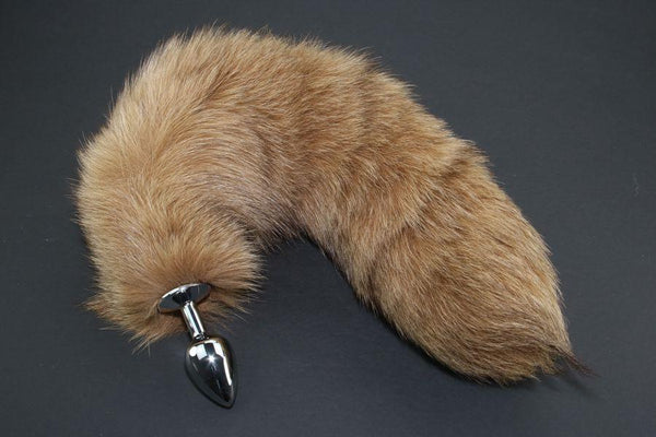 Pre-made Ready to Ship Real Fur Fox Tail with Small Metal Butt Plug (56)