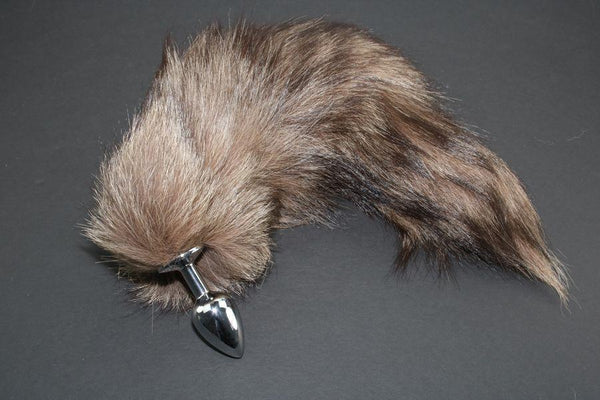 Pre-made Ready to Ship Real Fur Fox Tail with Small Metal Butt Plug (59)