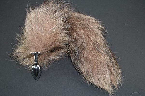 Pre-made Ready to Ship Real Fur Fox Tail with Small Metal Butt Plug (68)