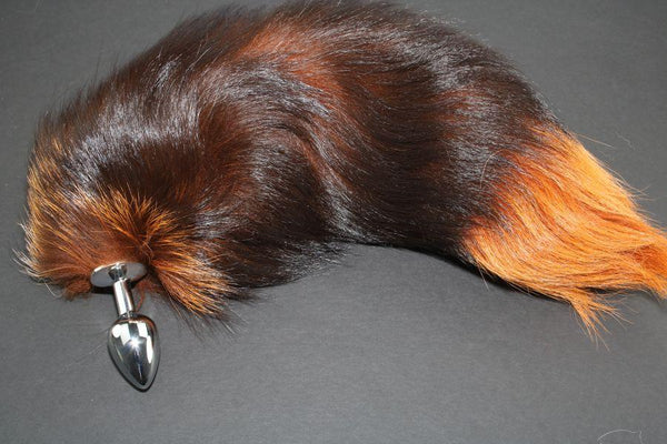 Pre-made Ready to Ship Real Fur Fox Tail with Small Metal Butt Plug (76)