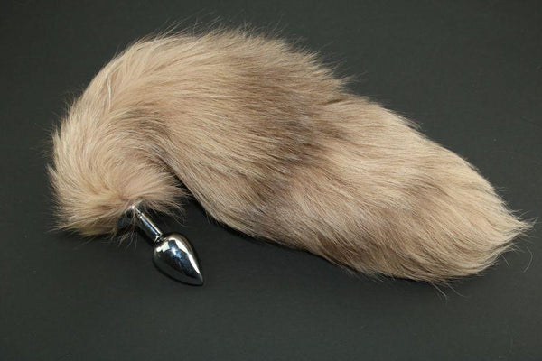 Pre-made Ready to Ship Real Fur Fox Tail with Small Metal Butt Plug (78)