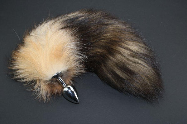 Pre-made Ready to Ship Real Fur Fox Tail with Small Metal Butt Plug (79)