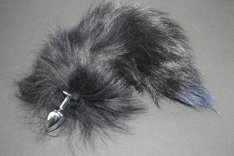 Pre-made Ready to Ship Real Fur Fox Tail with Small Metal Butt Plug (90)