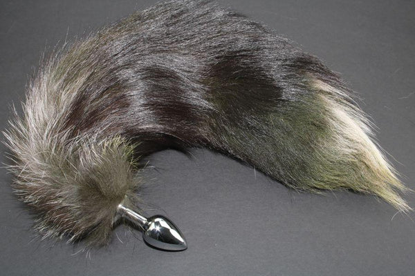 Pre-made Ready to Ship Real Fur Fox Tail with Small Metal Butt Plug (91)