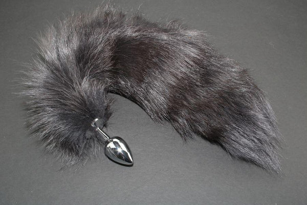 Pre-made Ready to Ship Real Fur Fox Tail with Small Metal Butt Plug (95)
