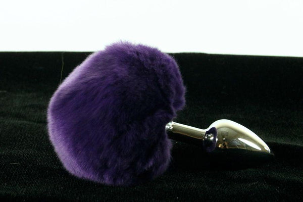 Soft and Sexy Real Fur VIOLET Bunny Tail Butt Plug