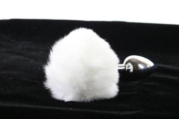 Soft and Sexy Real Fur WHITE Bunny Tail Butt Plug