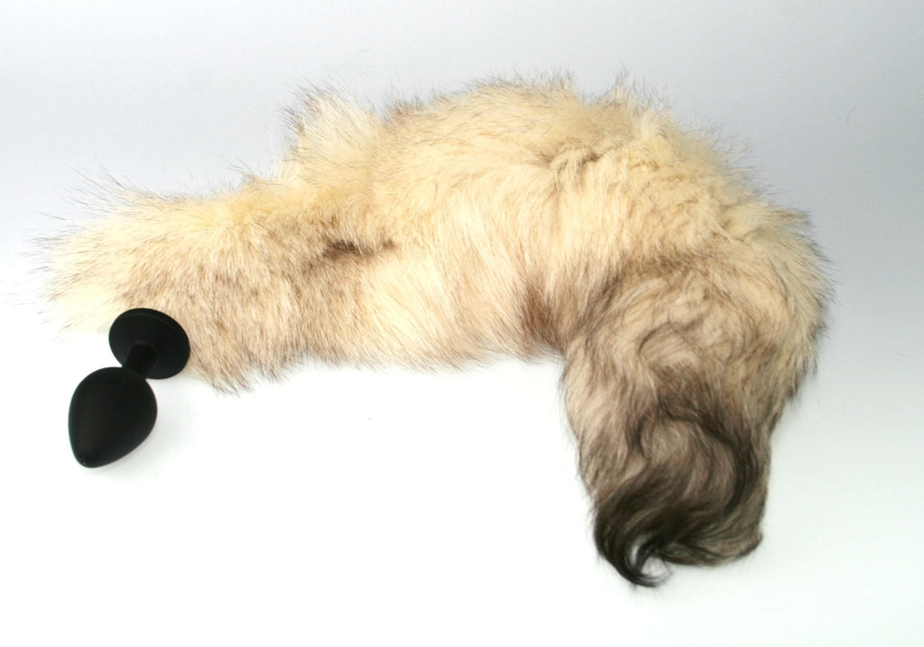 Natural White Fox Tail Butt Plug Real Fur