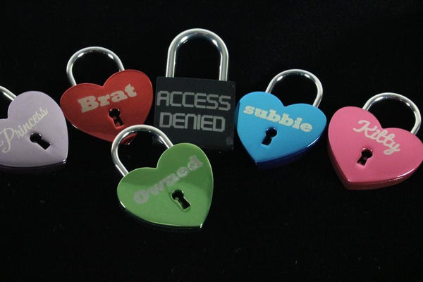 Custom Engraved Heart Lock with key for Chastity Play or Bondage