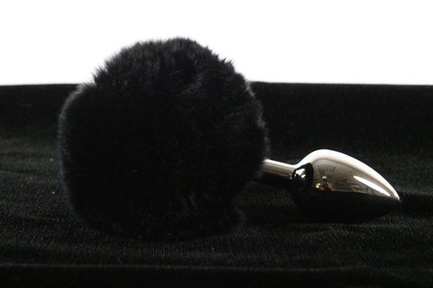 Soft and Sexy Real Fur BLACK Bunny Tail Butt Plug