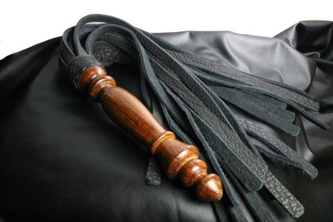 Black Leather Flogger with Wooden Handle