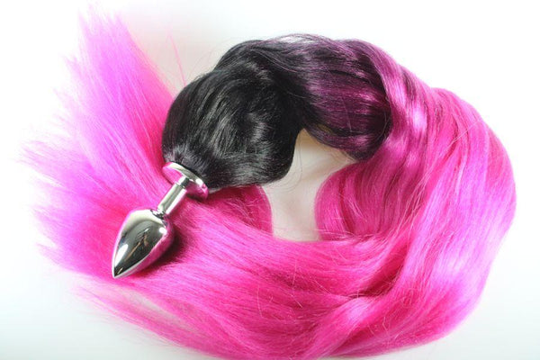 Magnetic Magenta Pony Tail Butt Plug Synthetic Tail (51)