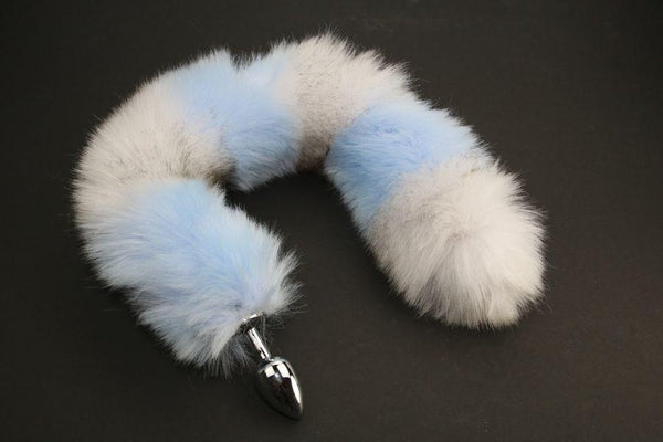 Long Faux Fur Light Blue & Grey Striped Fox Tail or Kitty Tail Butt Plug