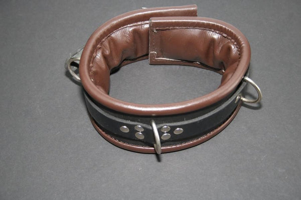 Clearance Leather Padded Collar with Locking Buckle