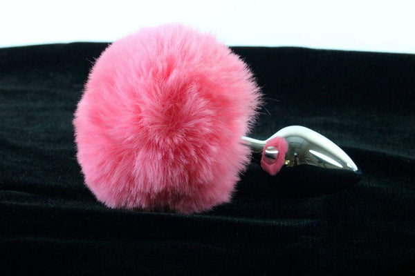 Soft and Sexy Real Fur Bubblegum PINK Bunny Tail Butt Plug