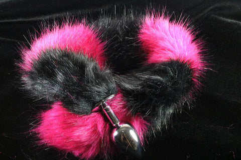 Long Faux Fur Magenta & Black Striped Fox Tail or Kitty Tail Butt Plug