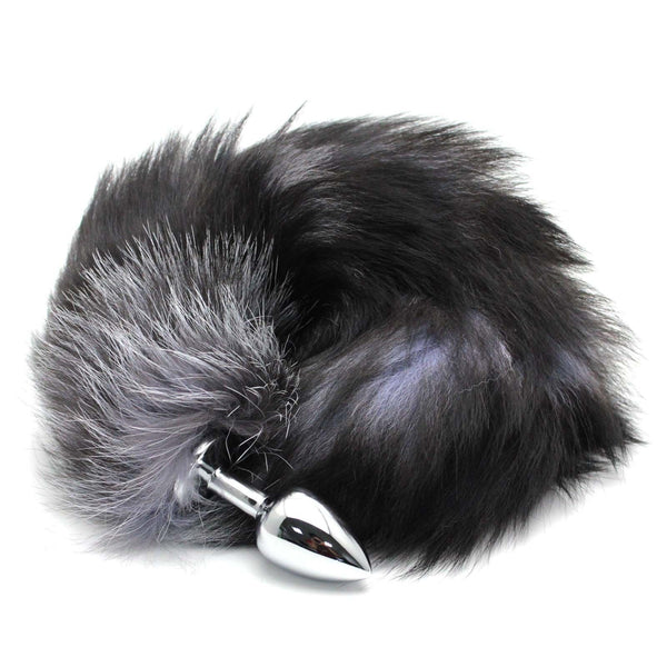 Natural Black Fox Tail Butt Plug Real Fur