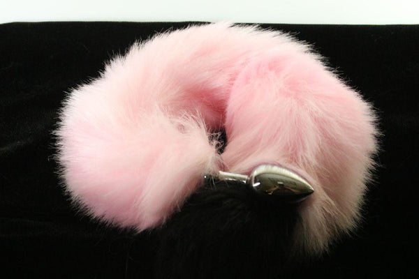 Long Faux Fur Baby Pink & Black Fox Tail or Kitty Tail Butt Plug
