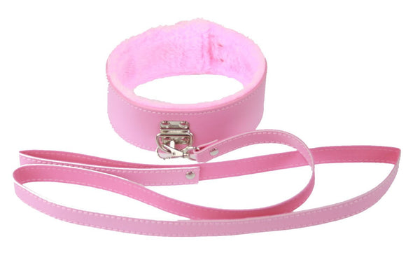 Pink PVC Fur-Lined Collar and Leash