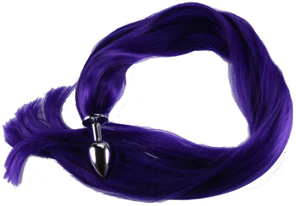 "24"" Purple Pony Tail Butt Plug Synthetic Tail (7)"