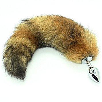 Small Red Fox Tail Butt Plug Real Fur