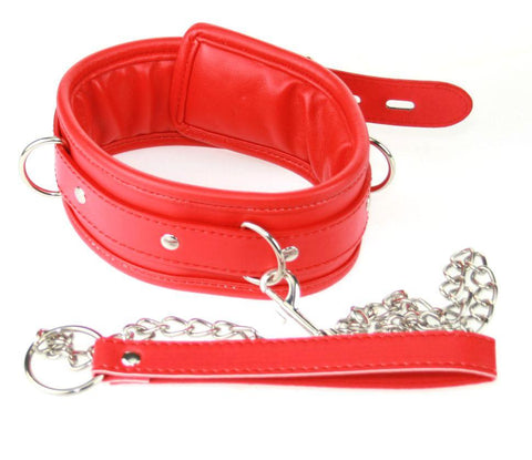 Red PVC Padded Collar and Leash
