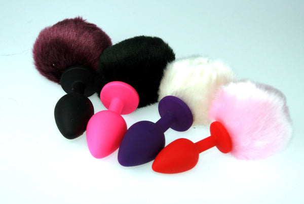 Synthetic Fur Bunny Tail Butt Plug, Silicone Butt Plug Faux Fur (ST)