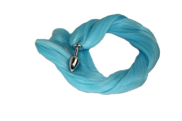 Sky Blue Pony Tail Butt Plug Synthetic Tail (31)