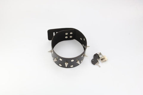 Tall Locking Spiked Collar  (Style 12)