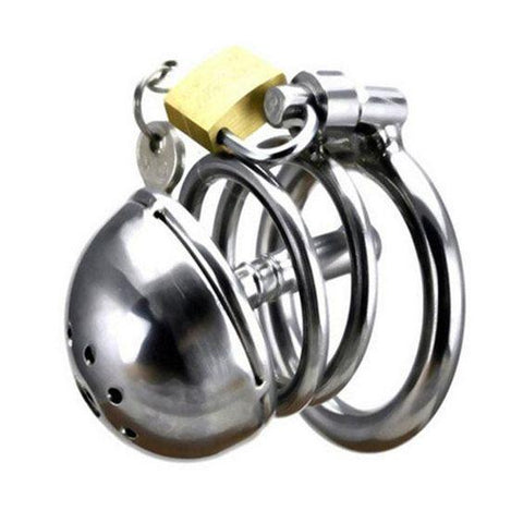 Short Steel Chastity Cage with Urethral Plug and Sprinkler Head (Style 6)
