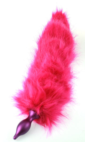 Synthetic Hot Pink Faux Fur Kitty Tail Fox Tail Detachable Metal Butt Plug (MR)