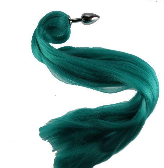 "24"" Teal Pony Tail Butt Plug Synthetic Tail (18)"